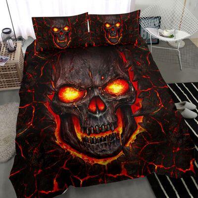 lava skull all over print bedding set 5