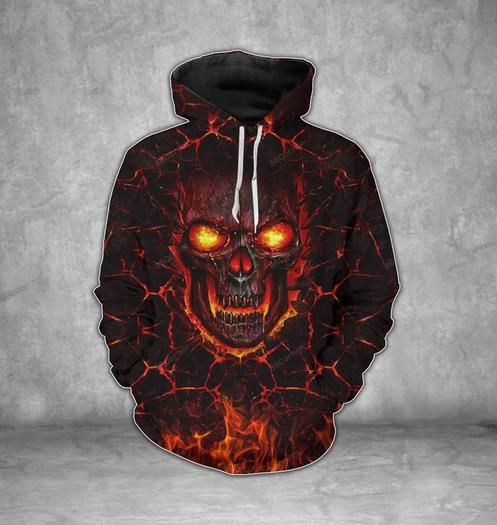 lava skull on fire all over printed shirt 1