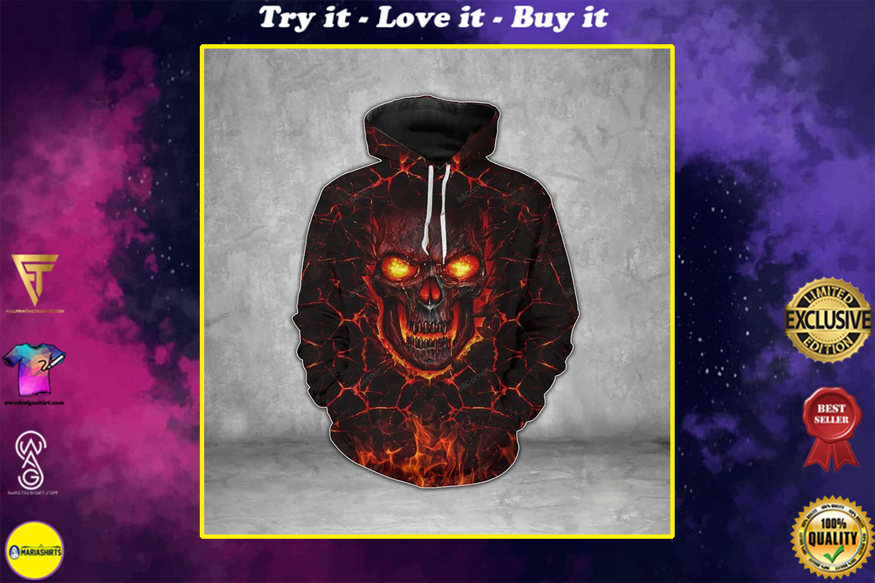 lava skull on fire all over printed shirt