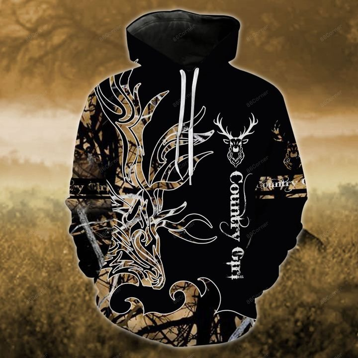 love hunting country girl on black all over printed shirt 1