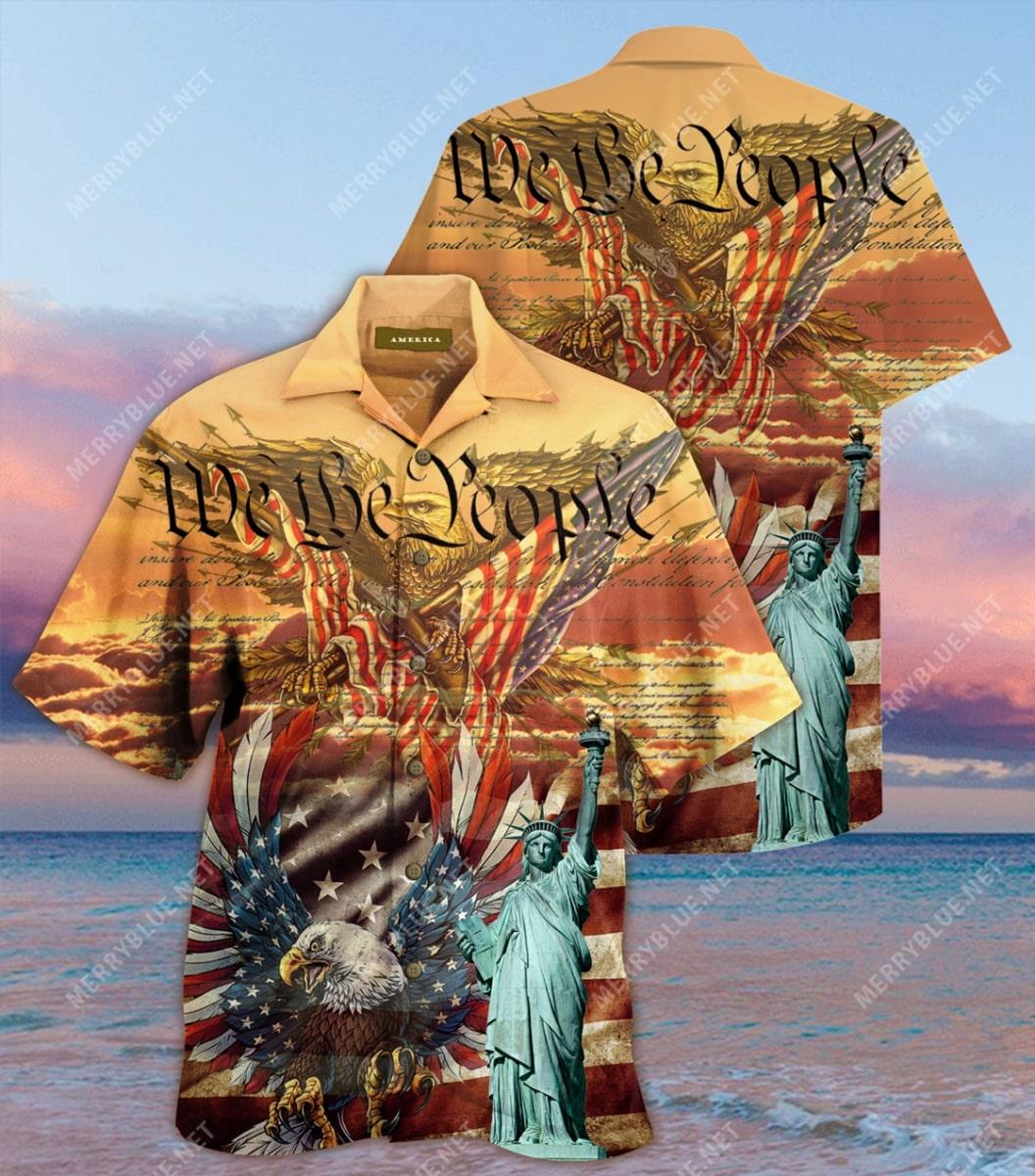 patriotism american flag eagle all over printed hawaiian shirt 2