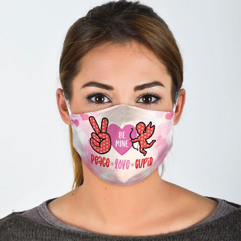 peace love cupid all over print face mask 3