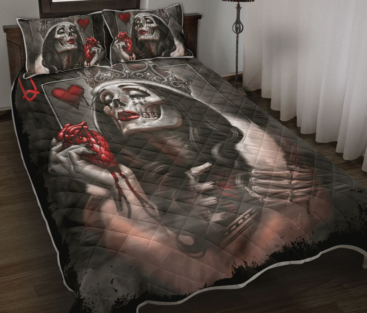 queen skull all over print bedding set 2