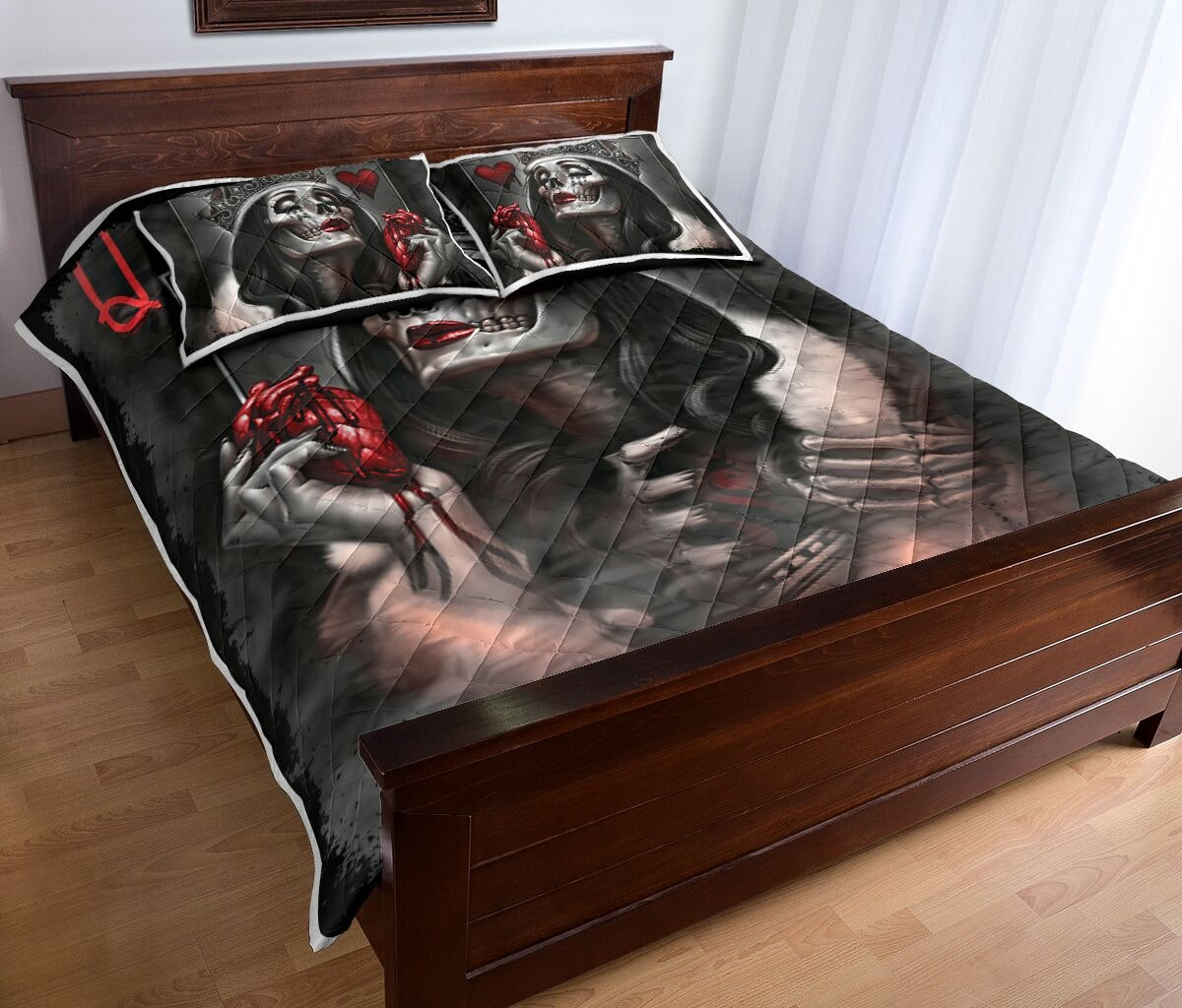 queen skull all over print bedding set 4