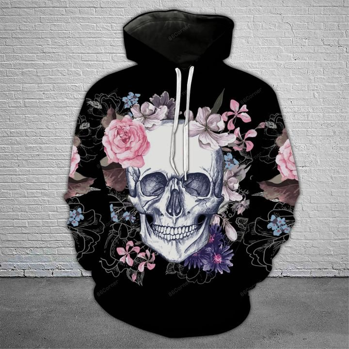the skull with floral all over printed shirt 1