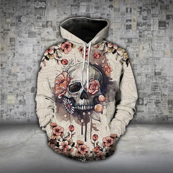 the skull with flower all over printed shirt 1