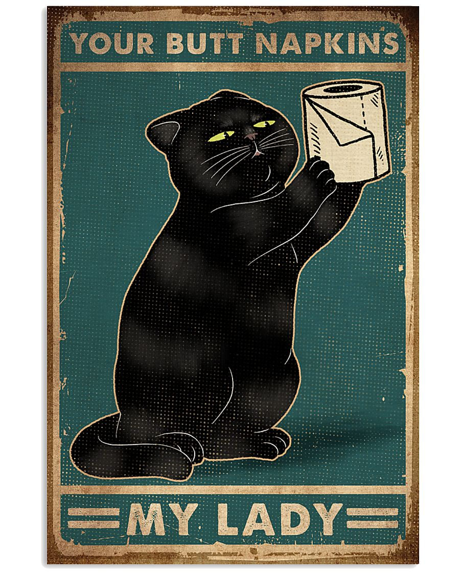 vintage black cat your butt napkins my lady poster 1