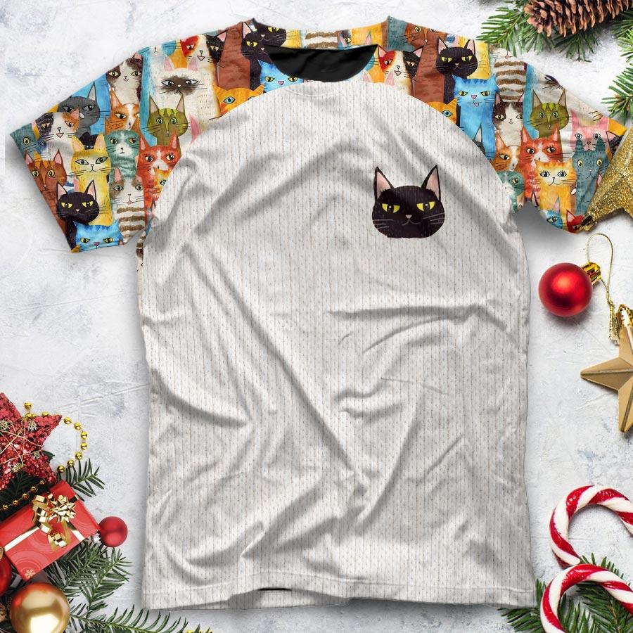 vintage colorful cats for cat lover all over printed tshirt