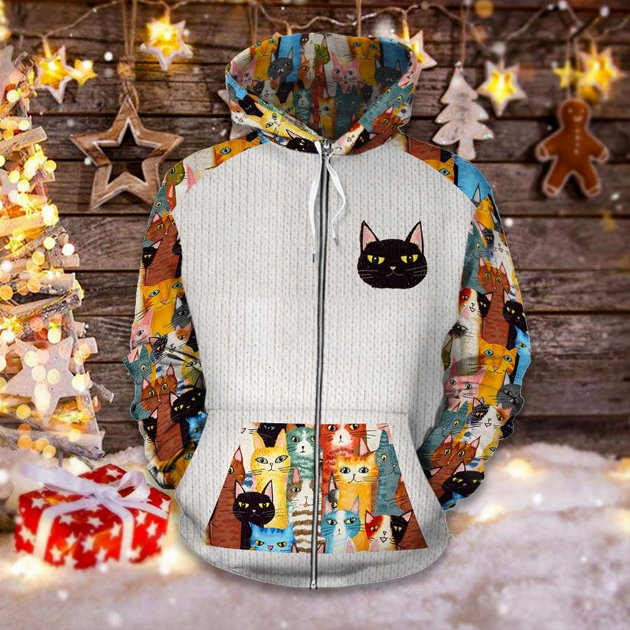 vintage colorful cats for cat lover all over printed zip hoodie