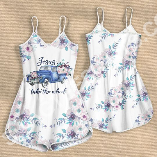 Jesus take the wheel car with flower all over printed rompers 2(1)
