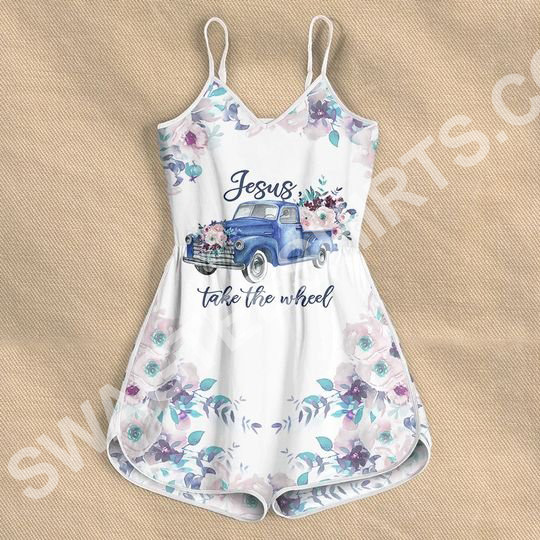 Jesus take the wheel car with flower all over printed rompers 4(1)