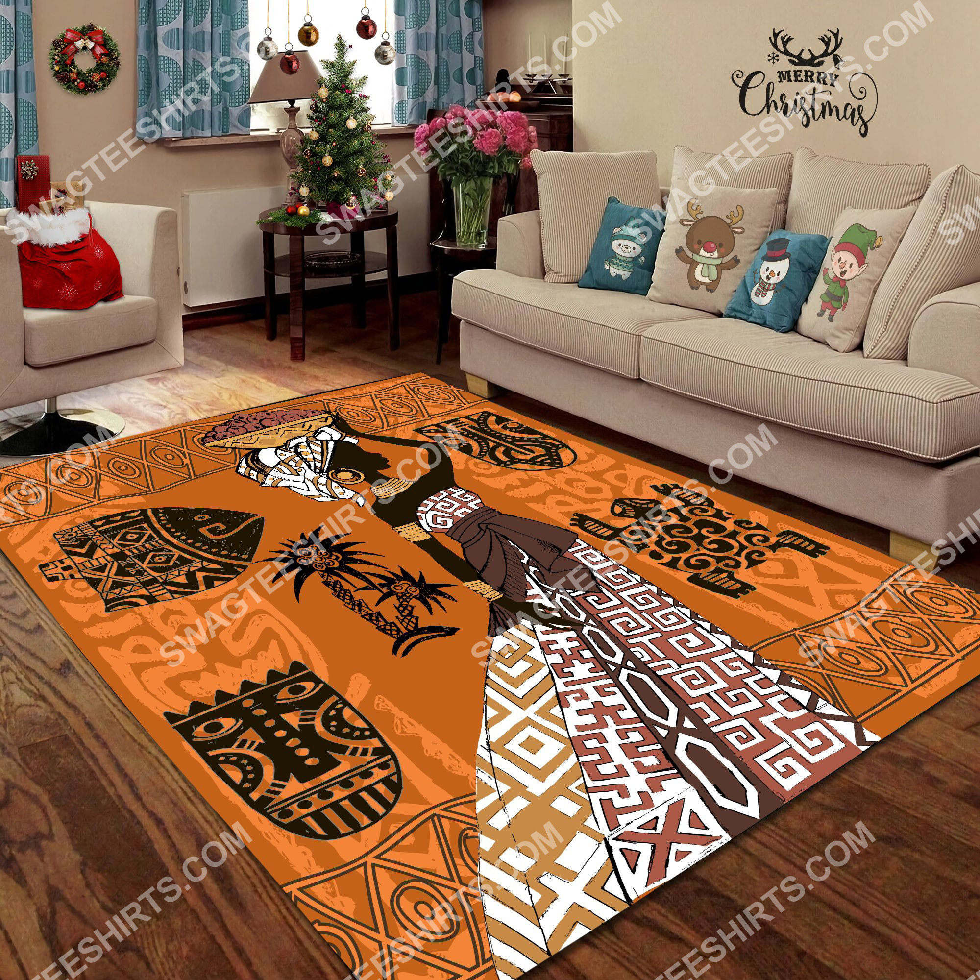 africa lady vintage all over printed rug 2(1)