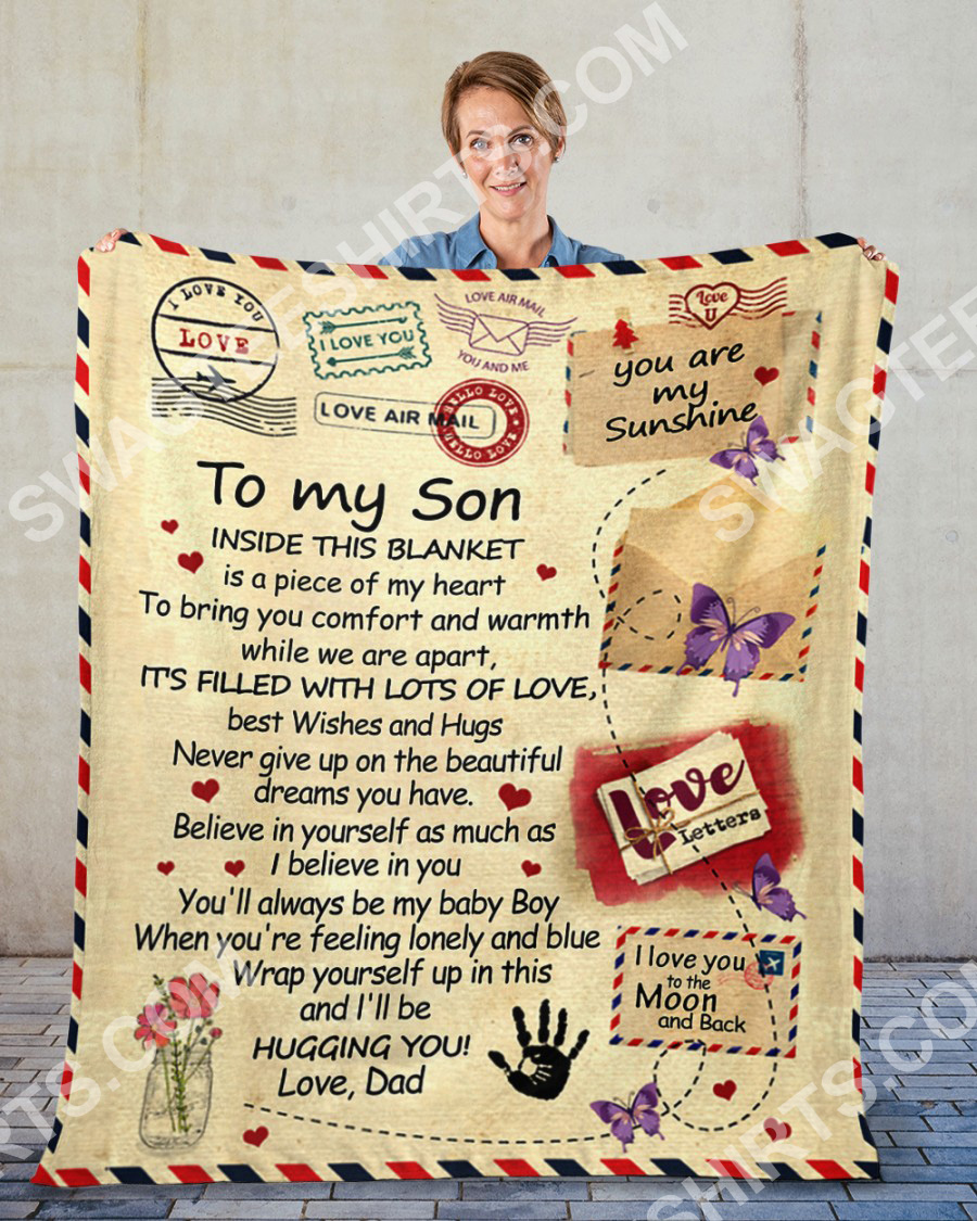 air mail to my son i'll be hugging you your dad blanket 2(1)
