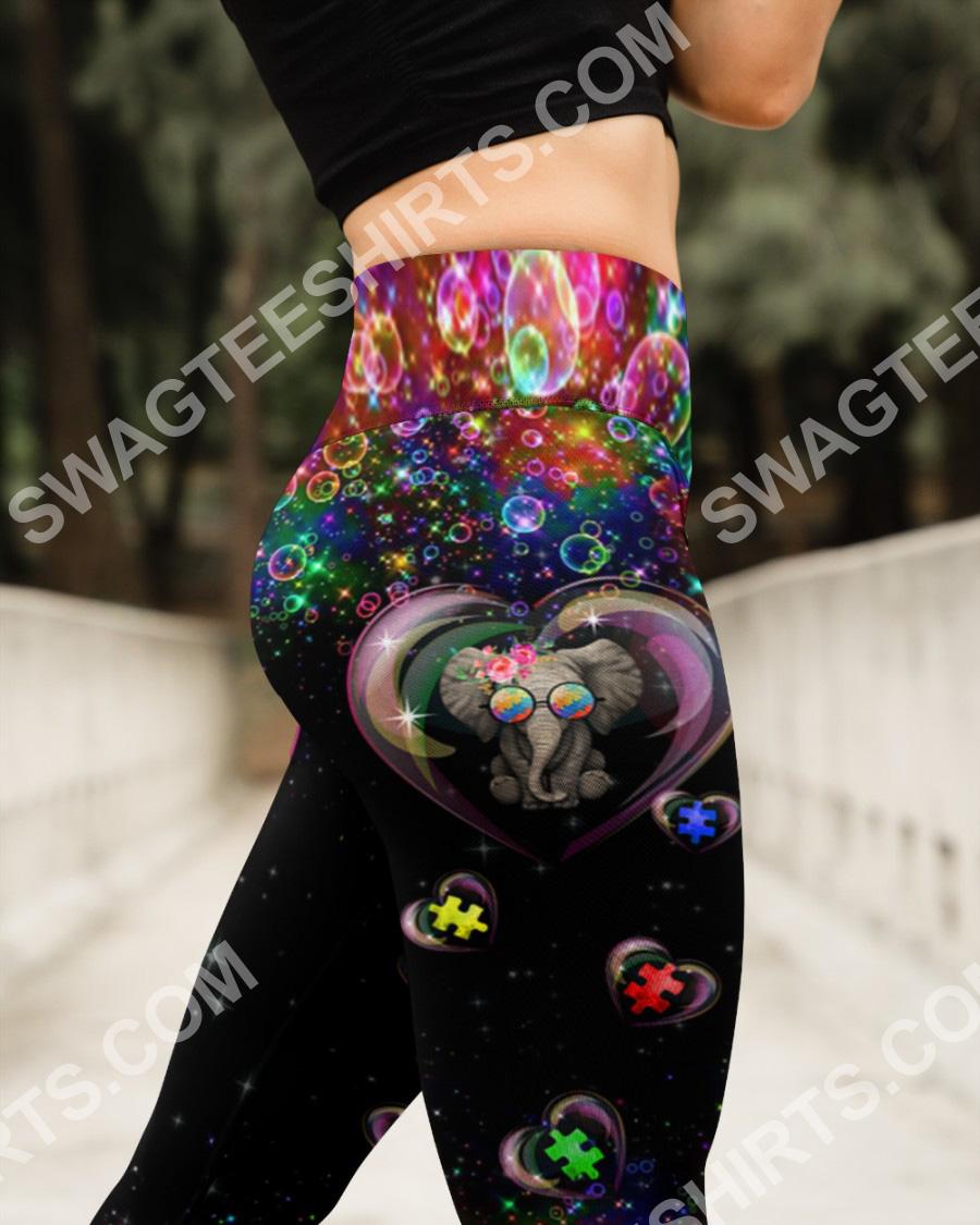 autism awareness elephant all over printed high waist leggings 3(1)
