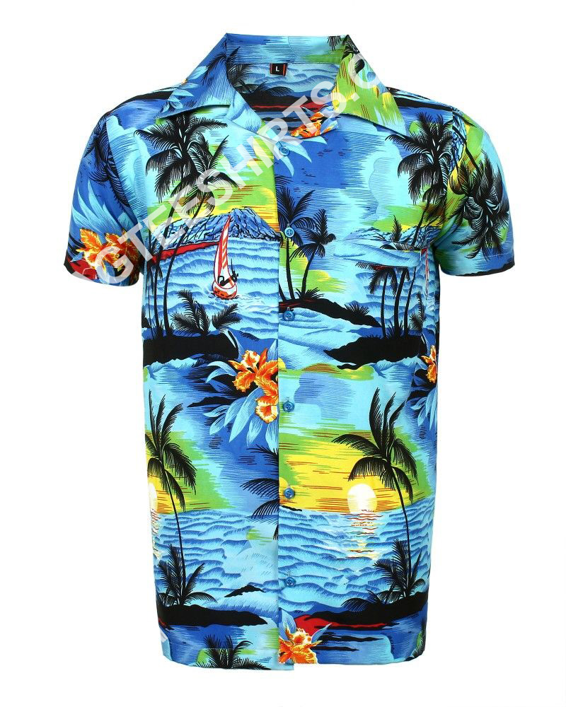 blue beach palm all over printed hawaiian shirt 2(1)