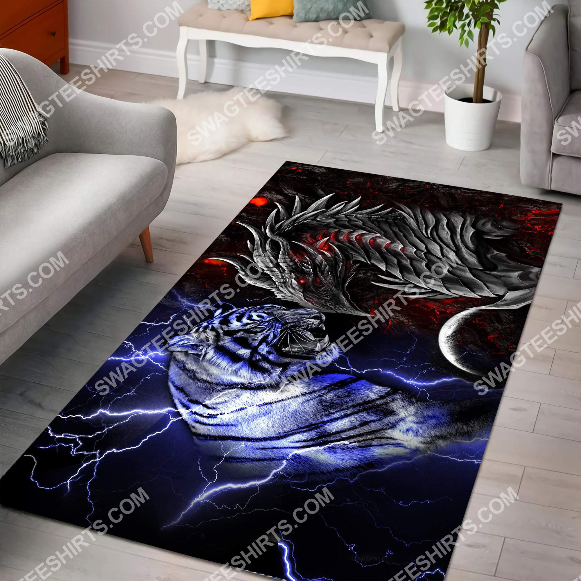 dragon and tiger fire and ice all over printed rug 2(1)