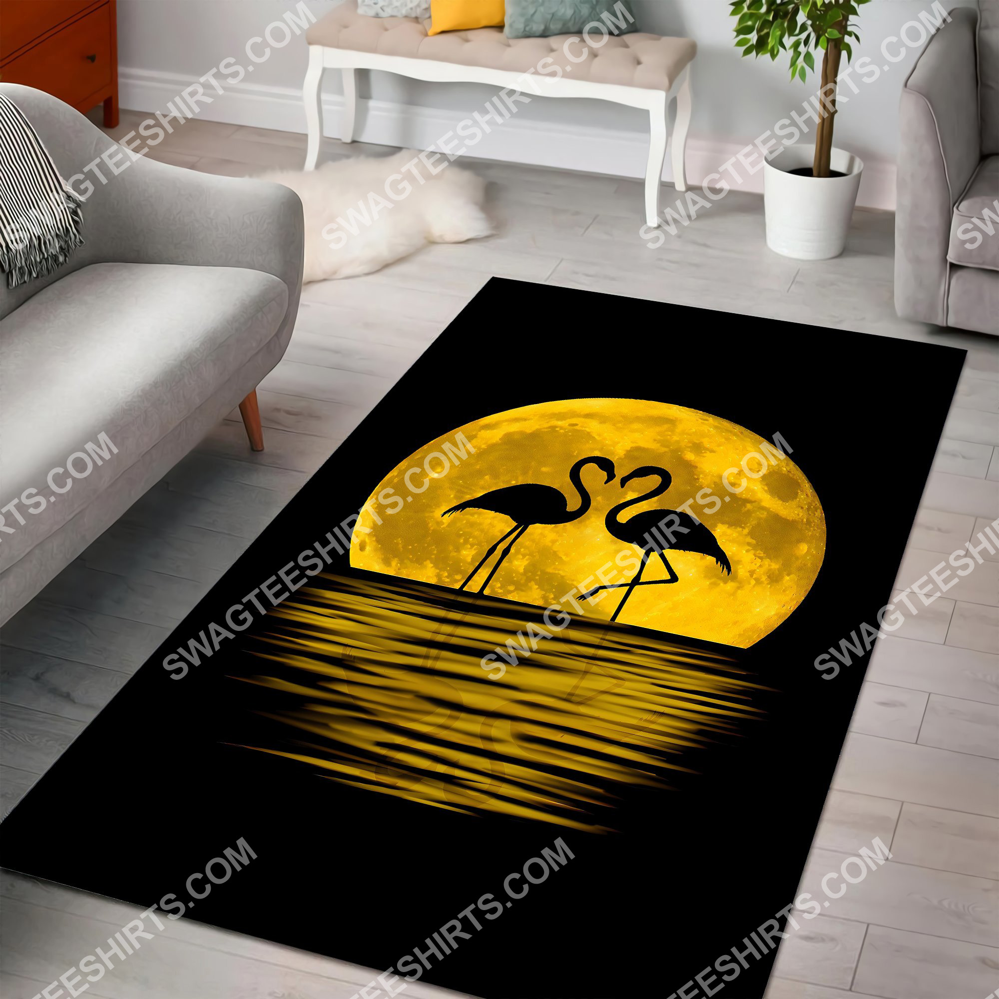 flamingo in the moon all over printed rug 3(1)