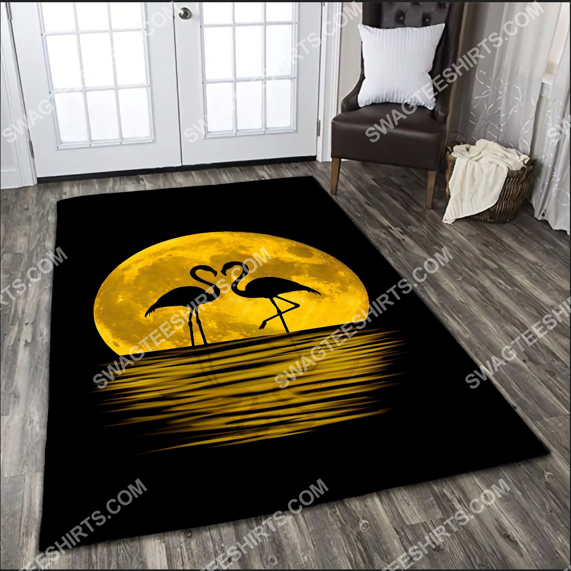 flamingo in the moon all over printed rug 4(1)