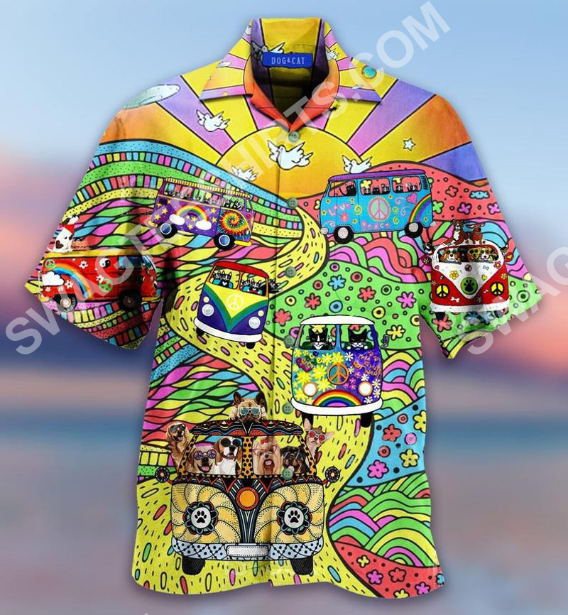 hippie cat and dog all over printed hawaiian shirt 2(1)