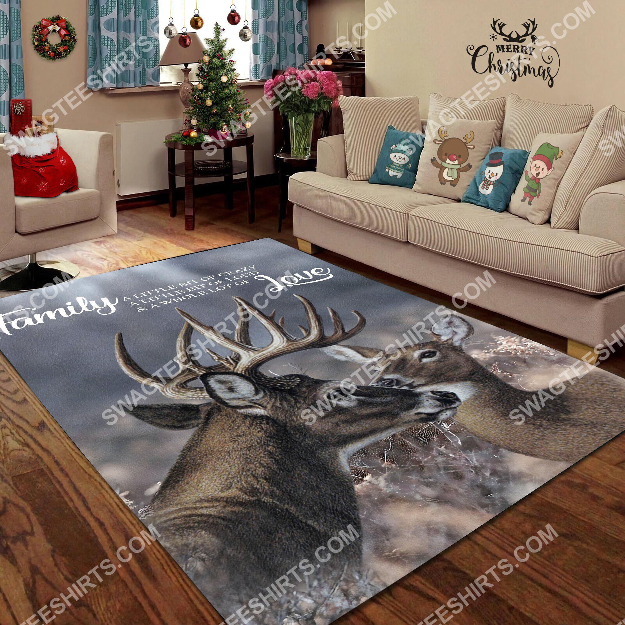 love deer family love all over printed rug 2(1)