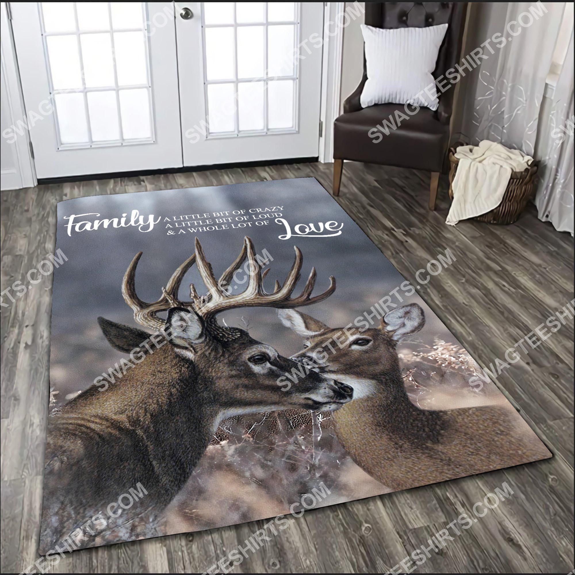 love deer family love all over printed rug 3(1)