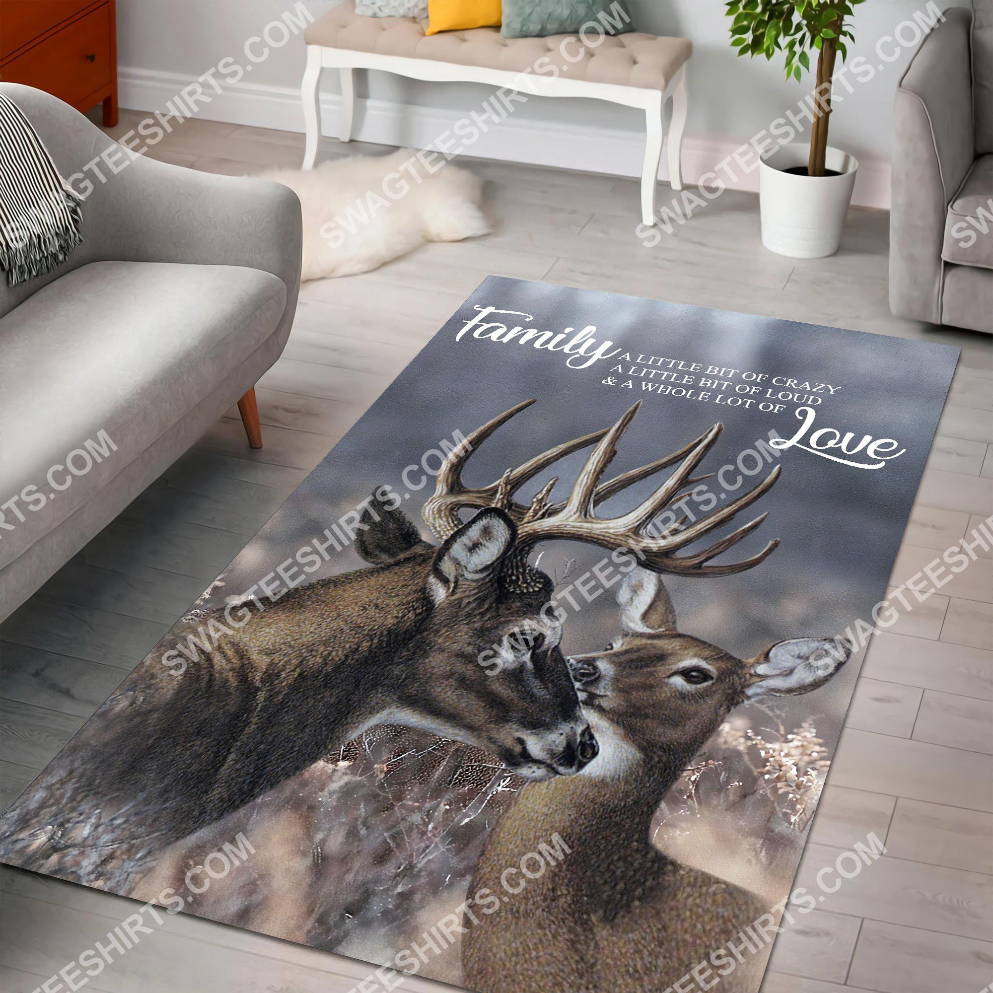 love deer family love all over printed rug 4(1)