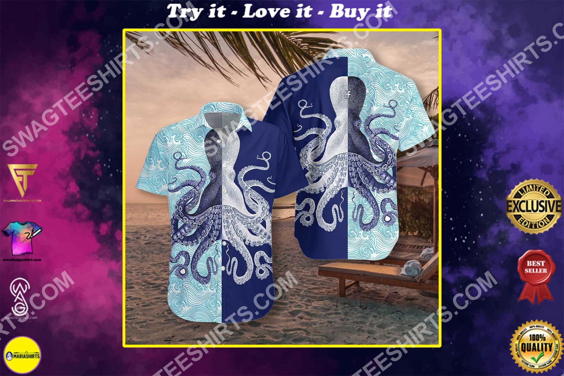 octopus ocean all over printed hawaiian shirt 2-1