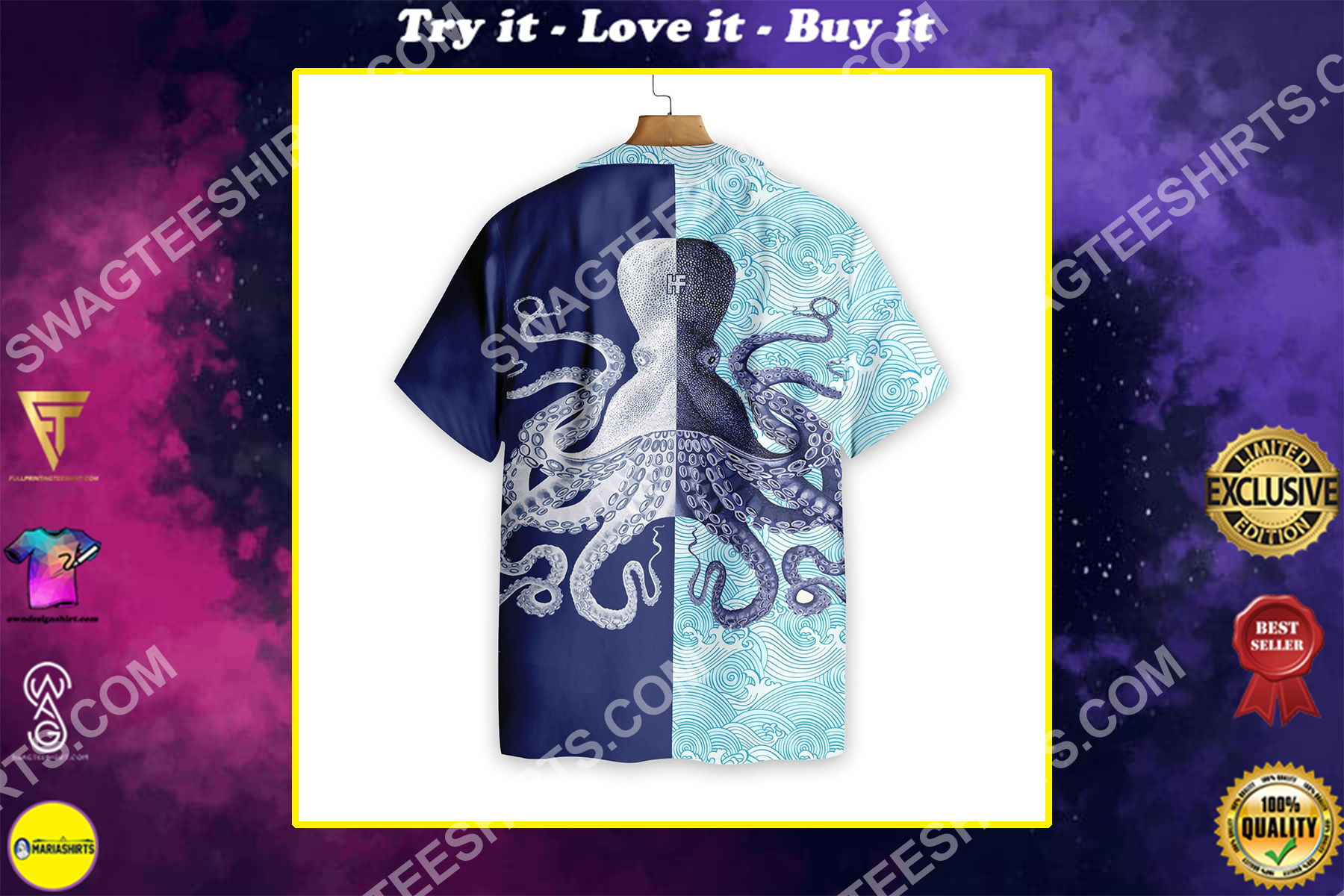 octopus ocean all over printed hawaiian shirt 3-1