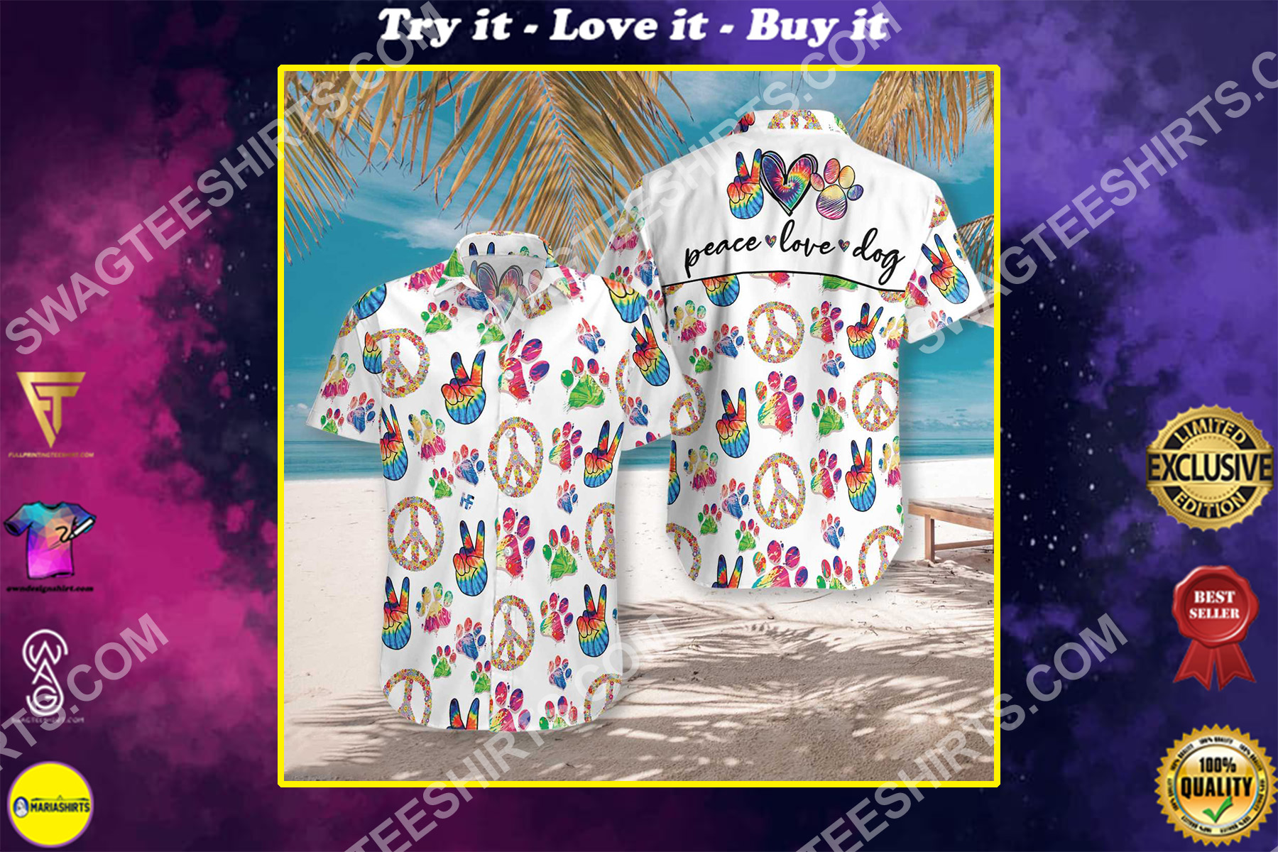 peace love dog all over printed hawaiian shirt 2-1