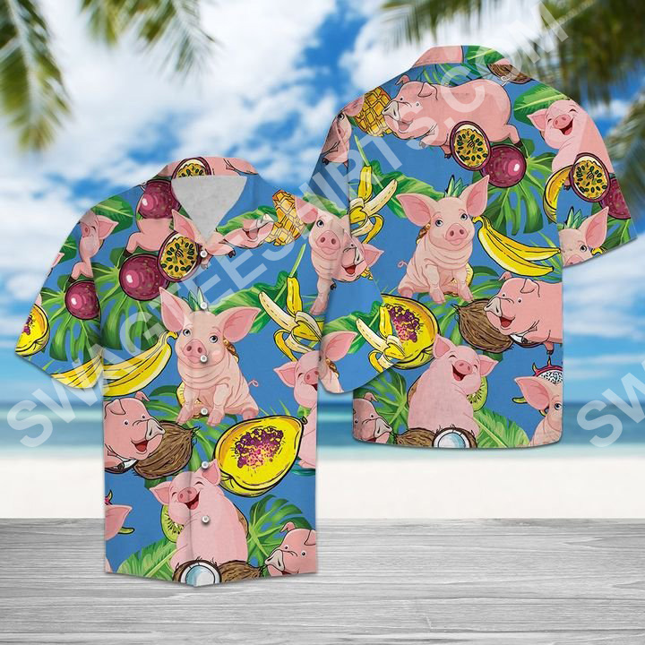 pig love fruit all over printed hawaiian shirt 2(1)