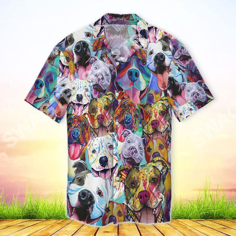 pitbull colorful all over printed hawaiian shirt 2(1)