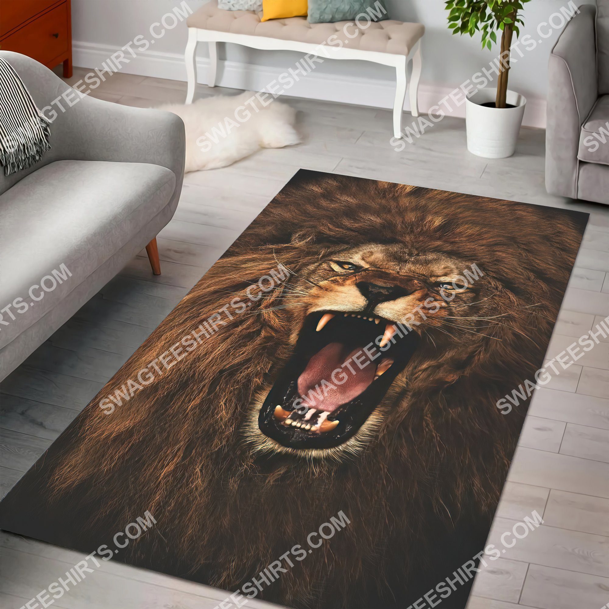 the alpha king lion all over printed rug 5(1)