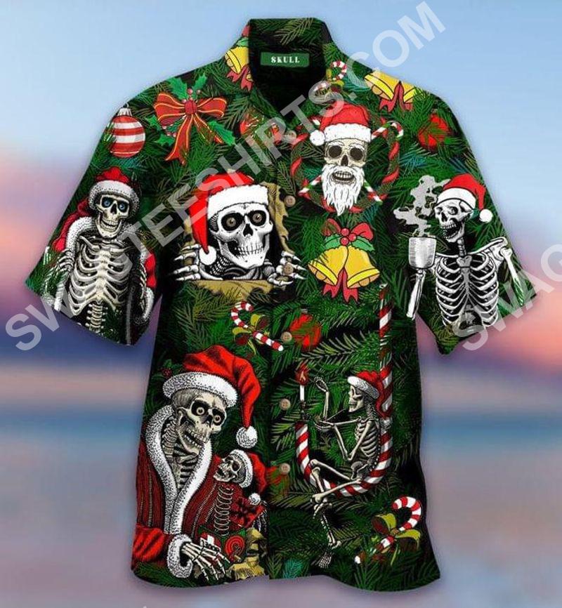 the skull and merry christmas all over printed hawaiian shirt 2(2) - Copy