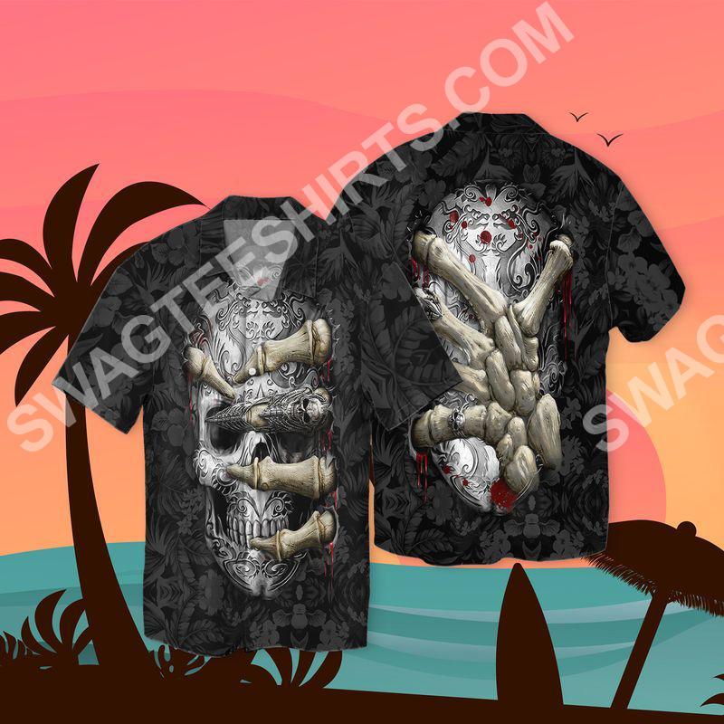 the sugar skull all over printed hawaiian shirt 2(1)