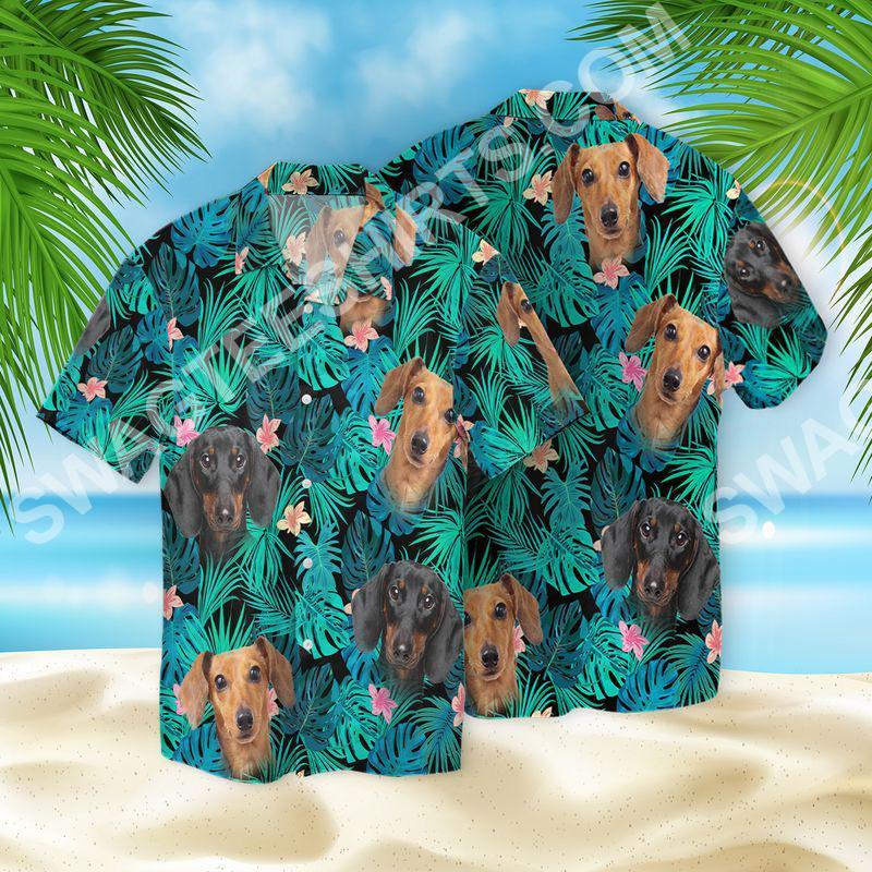 tropical dachshund dog lover all over printed hawaiian shirt 2(1)