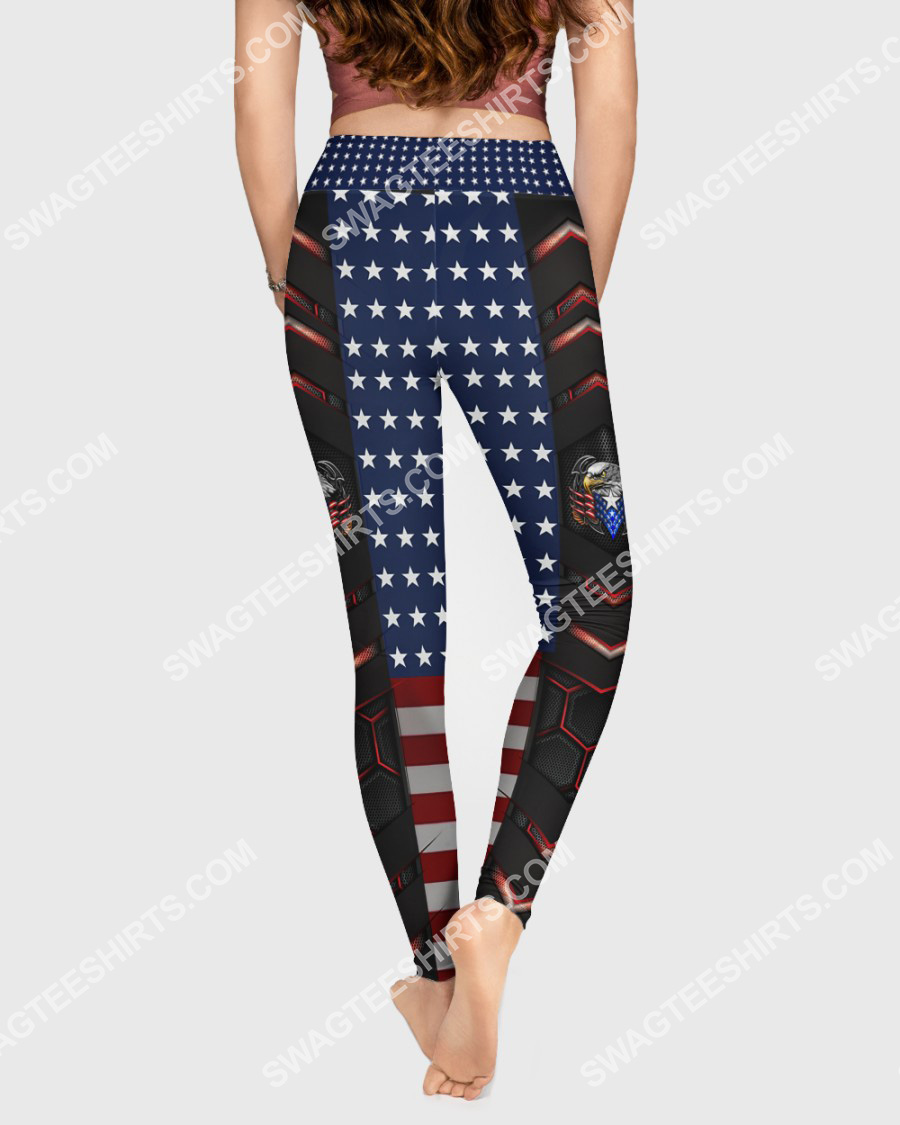 4th of july american eagle flag all over printed high waist leggings 2(1)