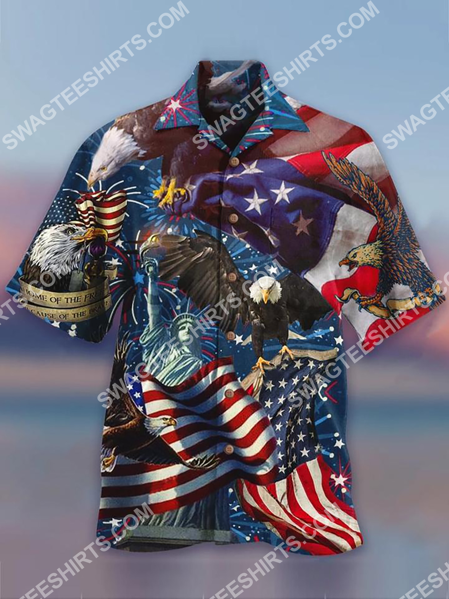 america flag and eagle all over printing hawaiian shirt 2(1) - Copy