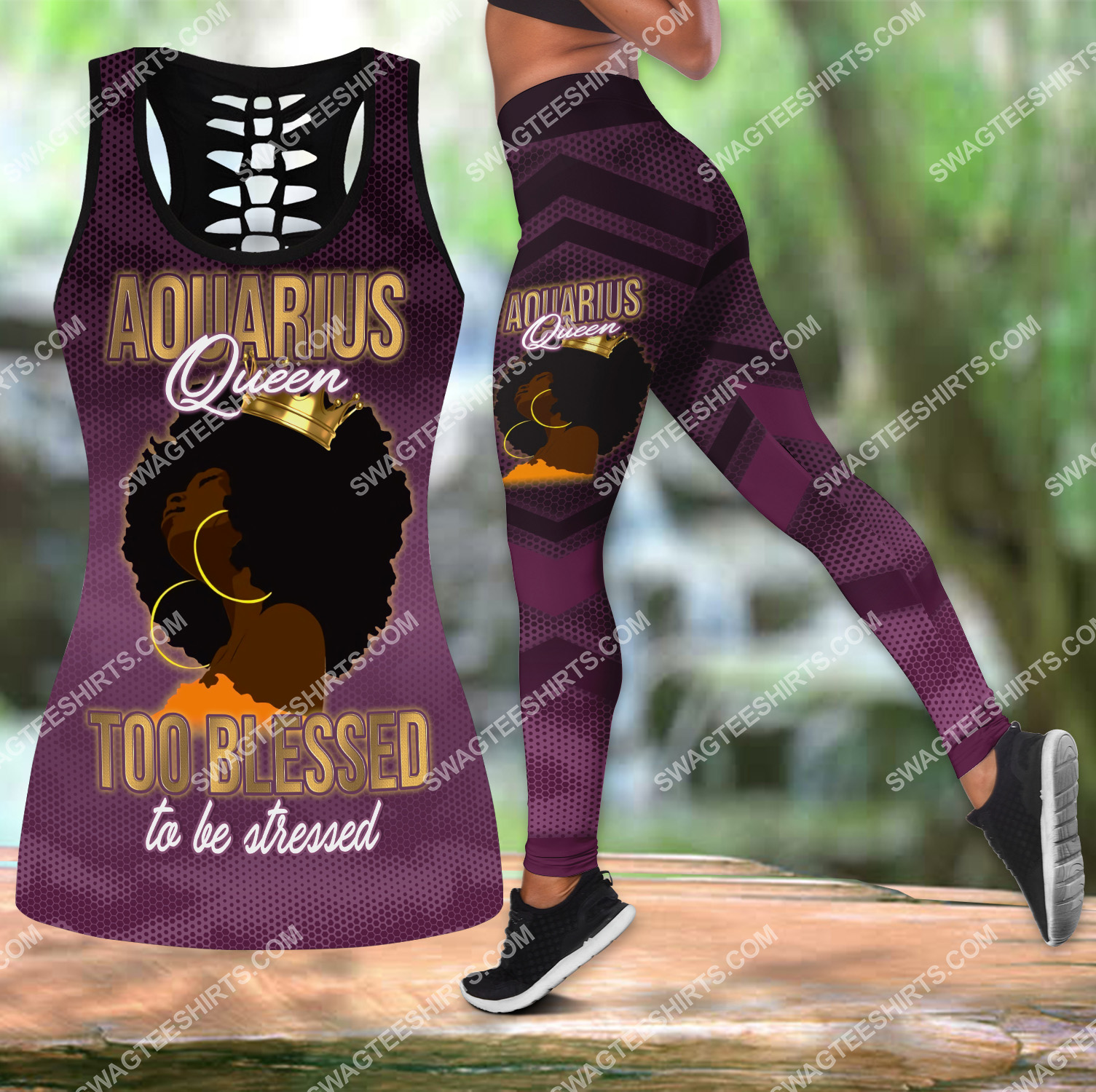 aquarius queen too blessed to be stressed birthday gift set sports outfit 3(1)