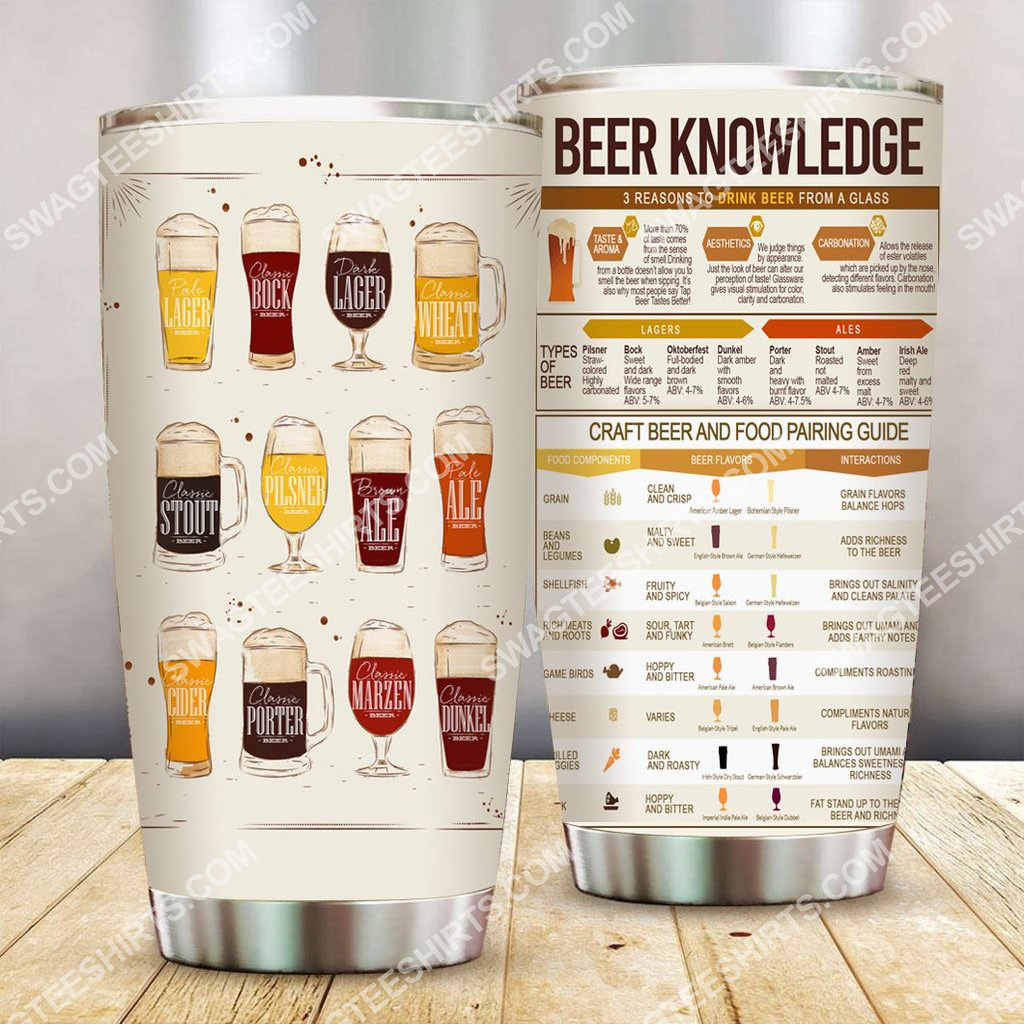 beer knowledge all over printed stainless steel tumbler