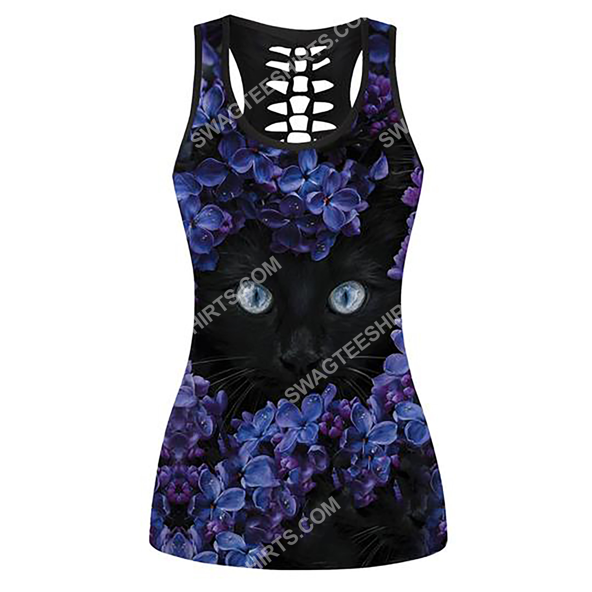 black cat and flowers full printing hollow tank top 2(2) - Copy