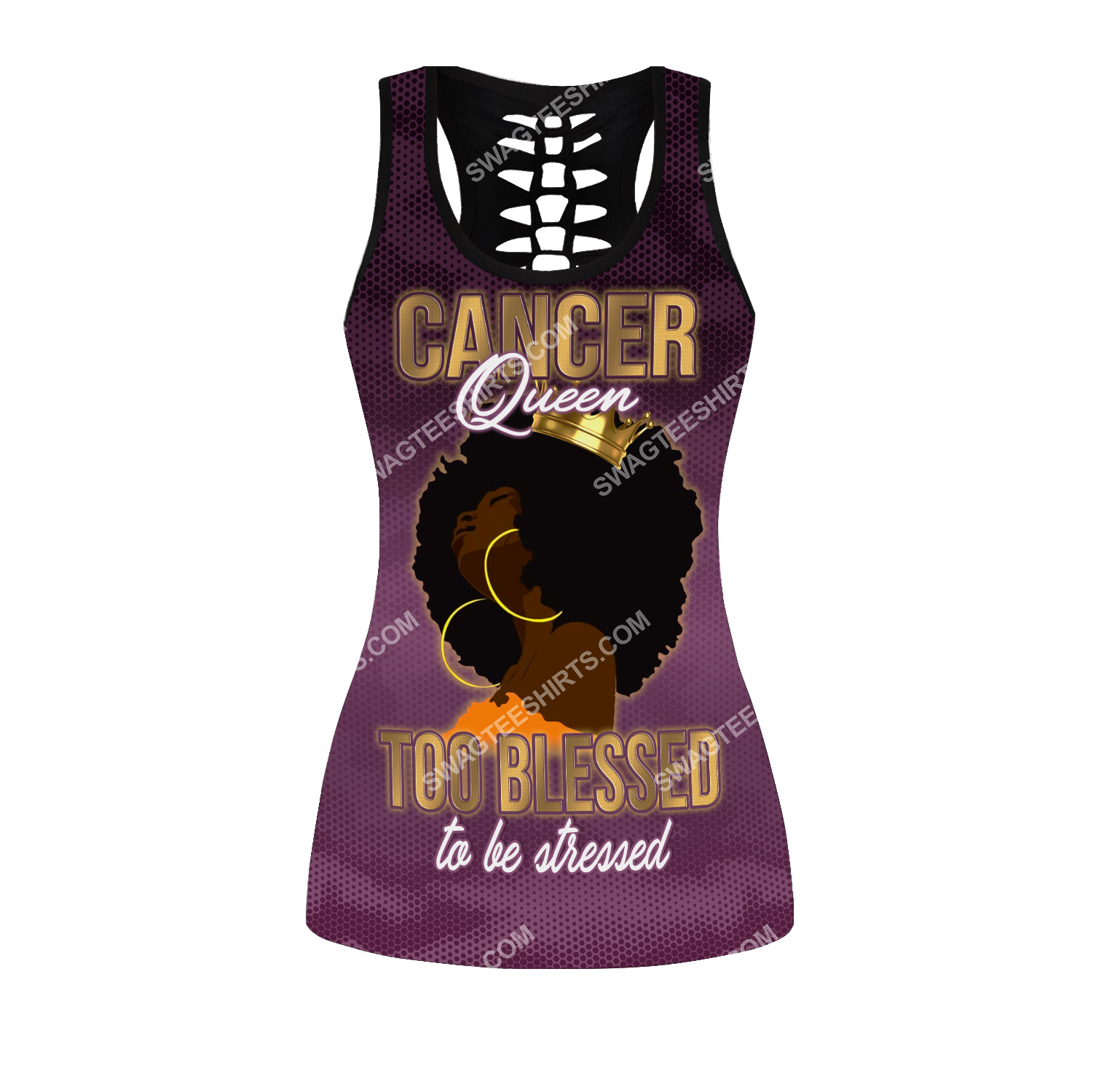 cancer queen too blessed to be stressed birthday gift hollow tank top(1)