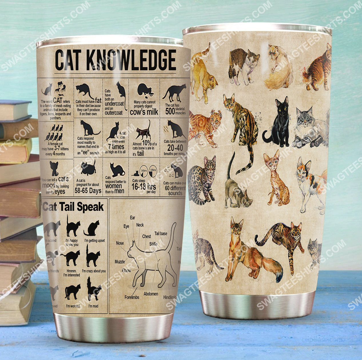 cat knowledge all over printed stainless steel tumbler 2(1) - Copy