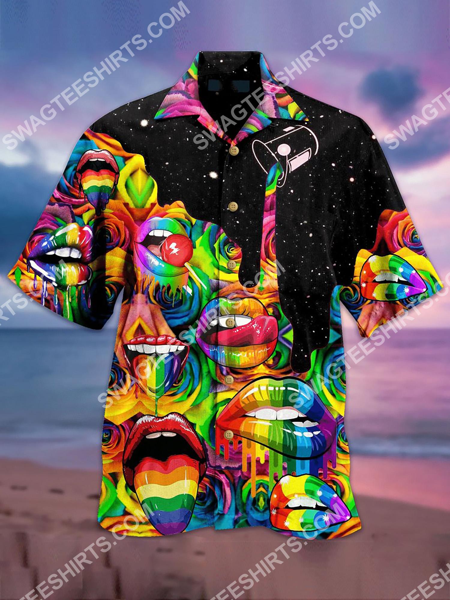 colorful sexy lips all over printing hawaiian shirt 2(2) - Copy