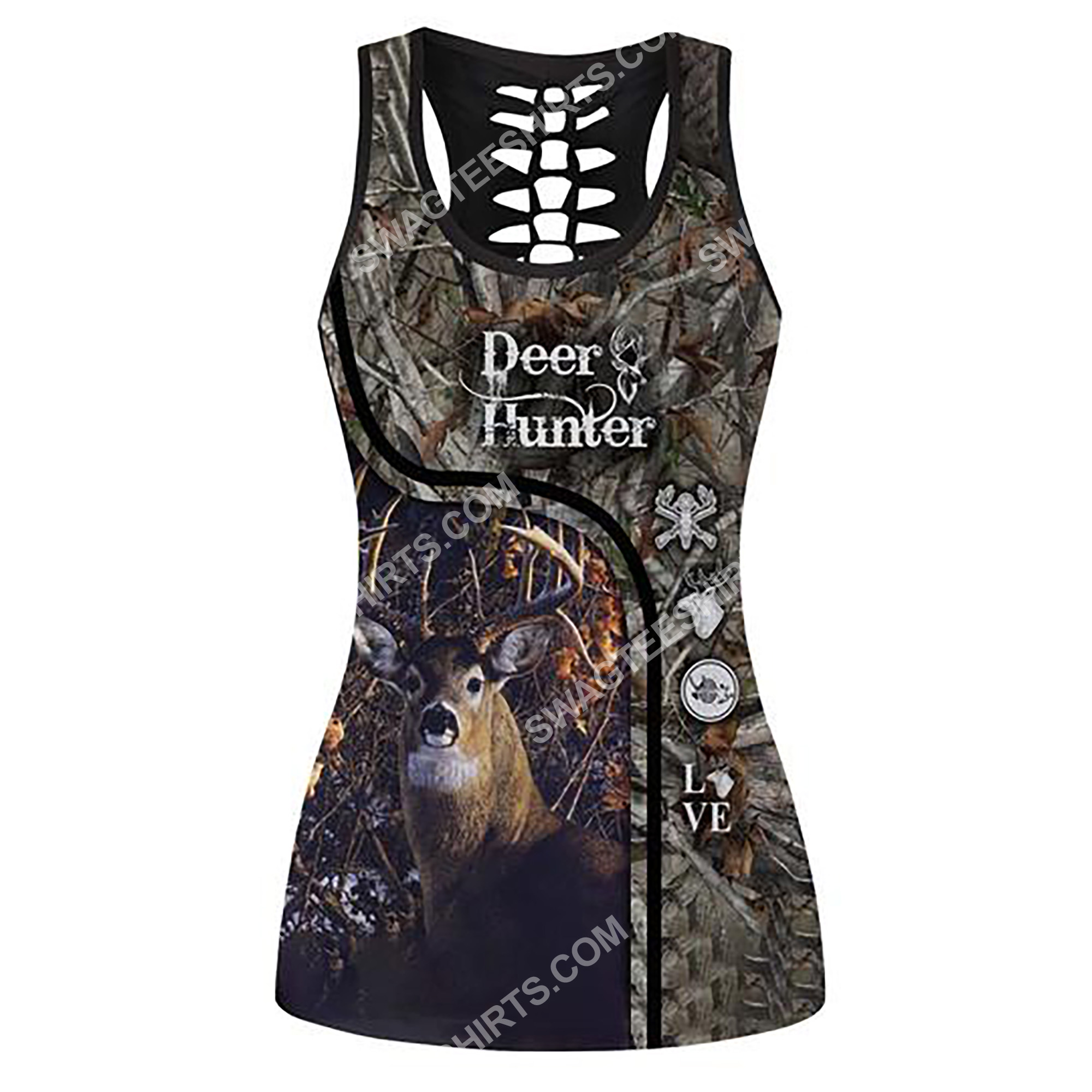 deer hunter in the forest full printing hollow tank top 2(2) - Copy
