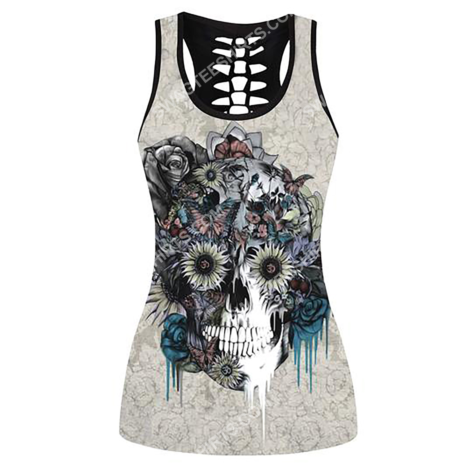 flower and skull full printing hollow tank top 2(2) - Copy