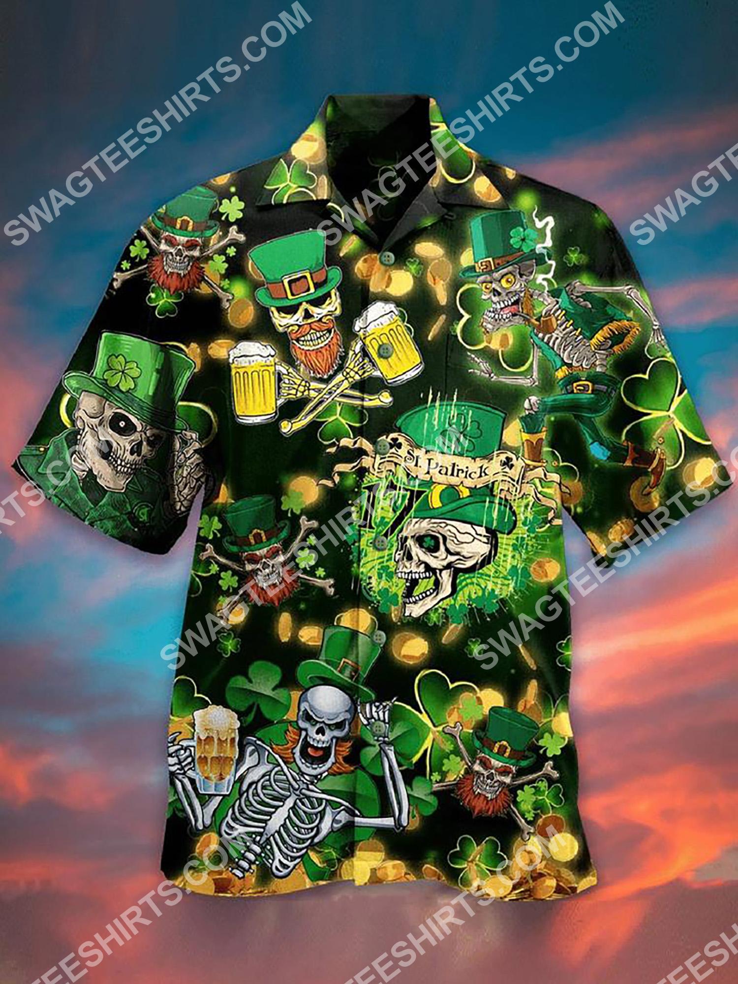 happy saint patrick's day skull all over printing hawaiian shirt 2(1)