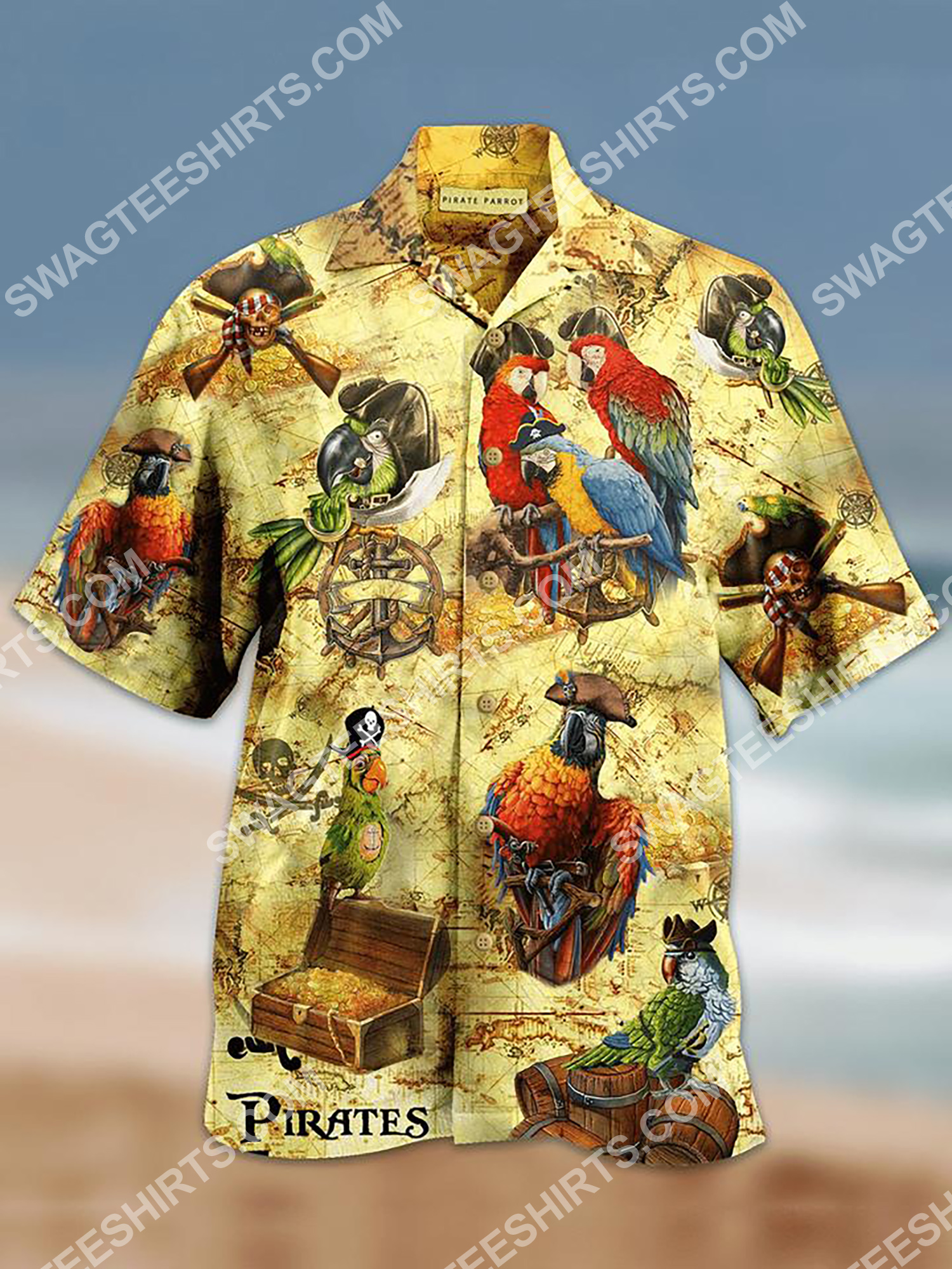 parrot and pirate map all over printing hawaiian shirt 2(1)