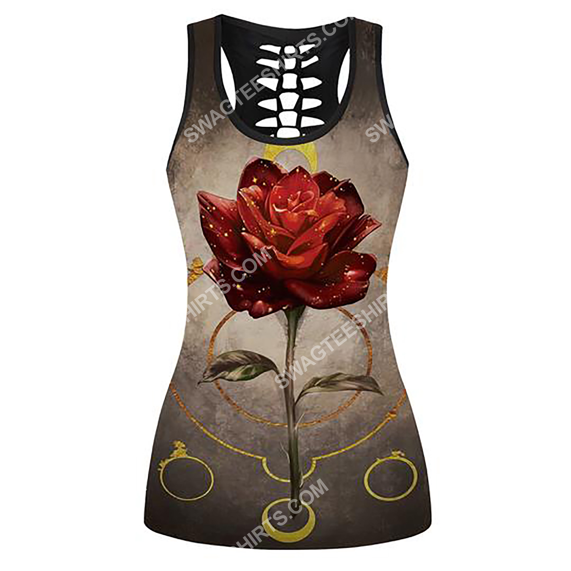rose and moon full printing hollow tank top 2(2) - Copy