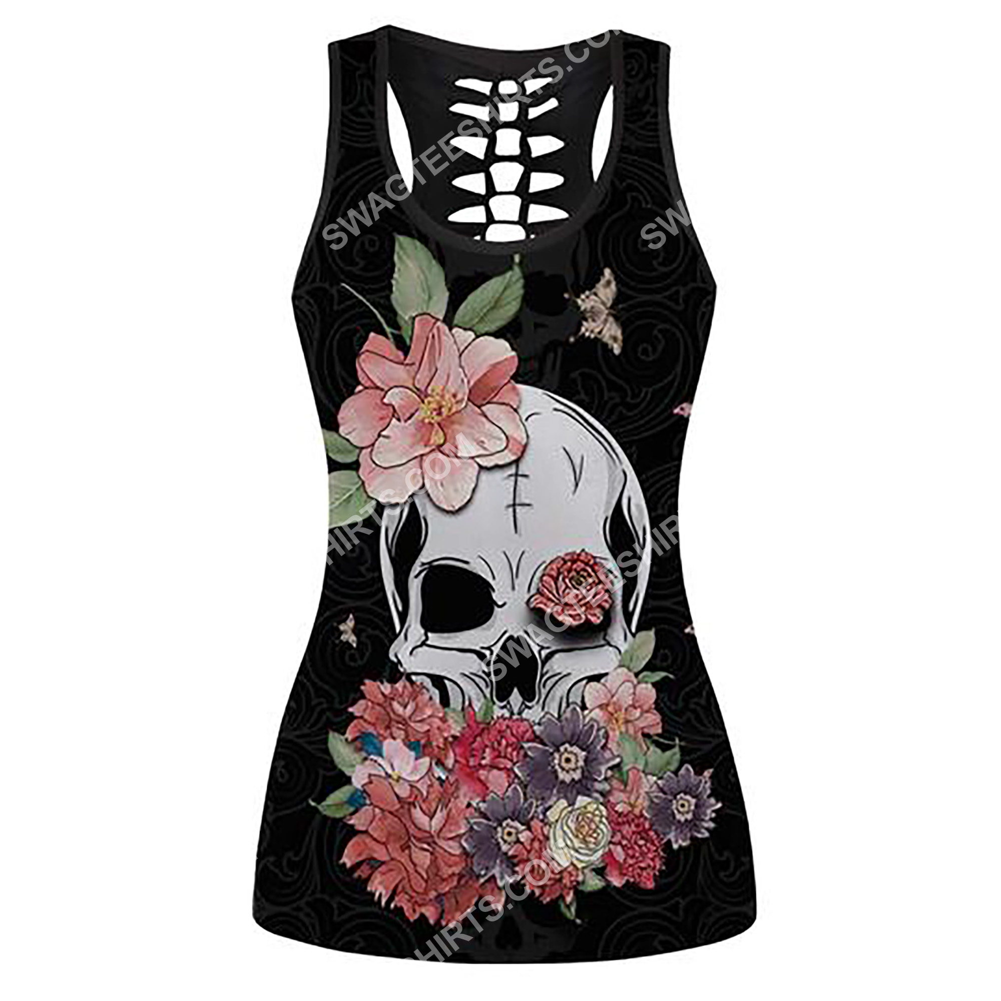 skull with flowers and butterfly full printing hollow tank top 2(1)