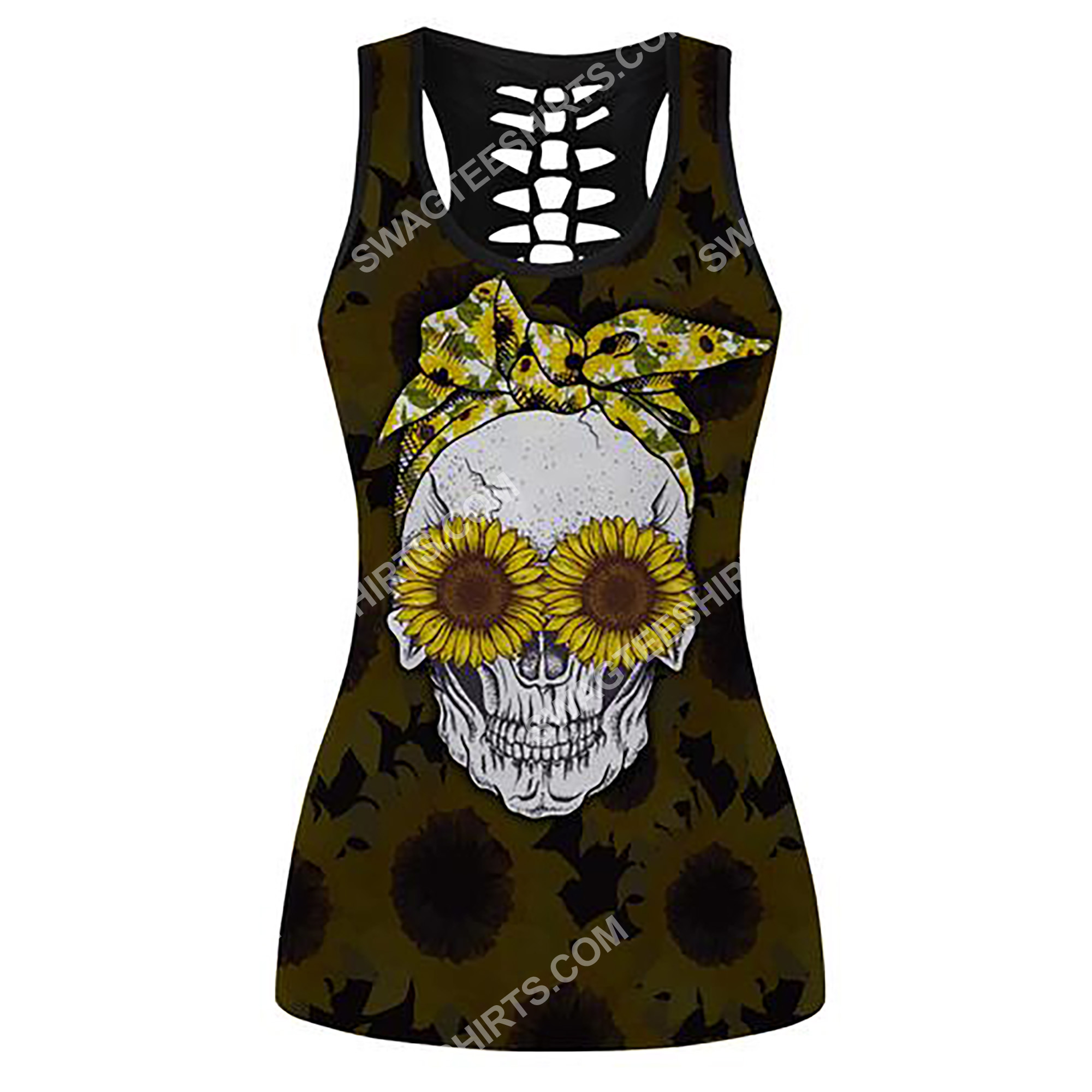 skull with glasses sunflower full printing hollow tank top 2(1)
